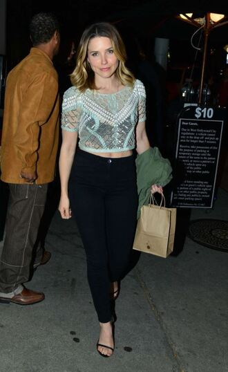 top lace top pants crop tops sophia bush sandals