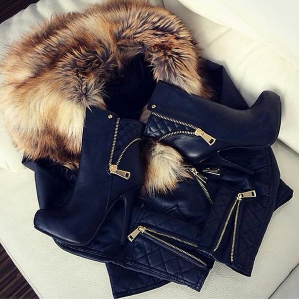 jacket leather jacket with fur fur vest black cuir fourrure coat shoes boots gold