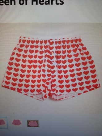 white shorts underwear red heart menswear white underwear