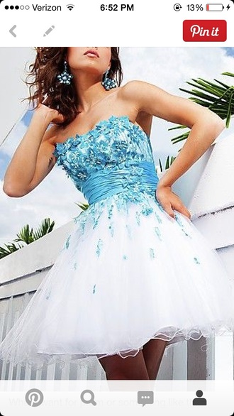 dress blue white homecoming prom flowers short butterflies strapless