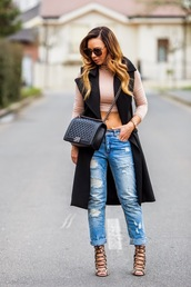 cashmere in style,blogger,jacket,cropped,quilted bag,ripped jeans