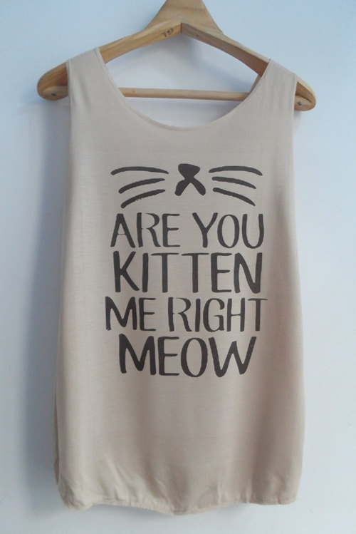 Are You Kitten Me Right Meow Tank Cat Shirt Cat von vintageartshirt