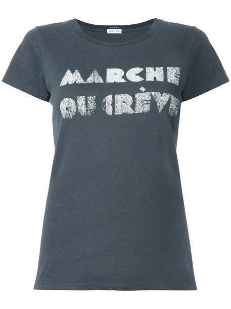 Mother - printed T-shirt - women - Cotton - S, Grey, Cotton