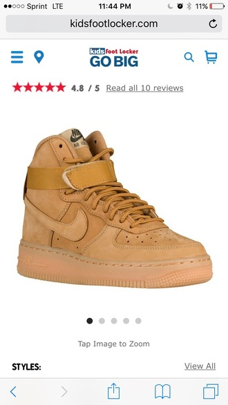 shoes nike nike air force 1 wheat tan kids shoes kids fashion where can i get this?  whereto high top sneakers