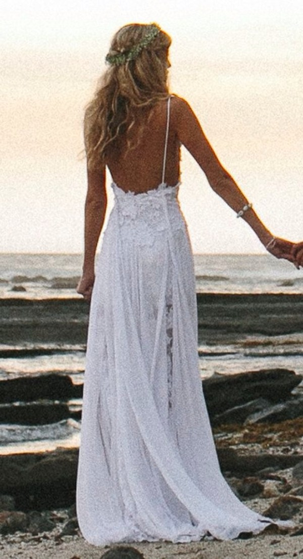 beach wedding dresses spaghetti straps appliques low back
