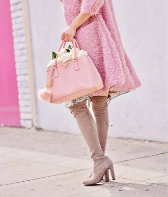 bag tumblr prada prada bag pink bag flowers boots high heels boots nude boots over the knee boots coat fluffy fuzzy coat pink coat all pink everything pink winter outfit