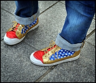 shoes wonder woman sneakers red white and blue comic book superheroes
