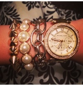 jewels,ralph lauren,bracelets,michael kors,watch,michael kors watch,ralph lauren femme,spikes,stacked bracelets,jewelry