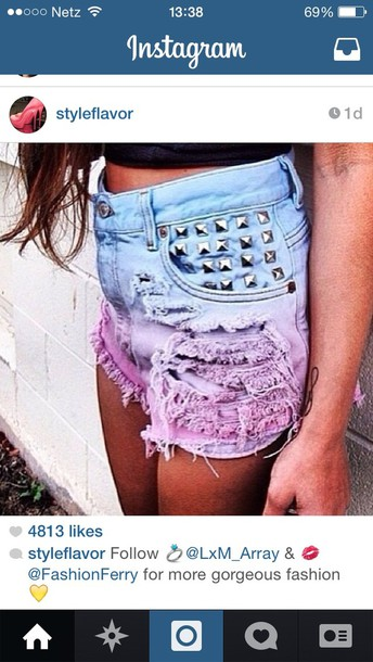 shorts purple jeans