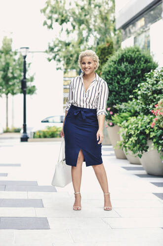 fashionably lo blogger bag sunglasses jewels striped top button up blue skirt long sleeves office outfits sandals sandal heels skirt midi skirt front slit skirt slit skirt pencil skirt striped shirt stripes work outfits spring outfits high heel sandals nude sandals white bag tote bag