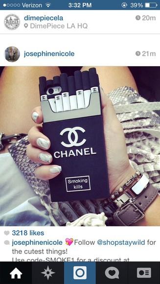 phone white chanel phone case black cigarettes