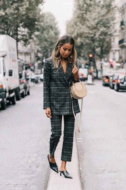 pants tumblr plaid plaid pants grey pants blazer plaid blazer shoes mules bag round bag matching set streetstyle