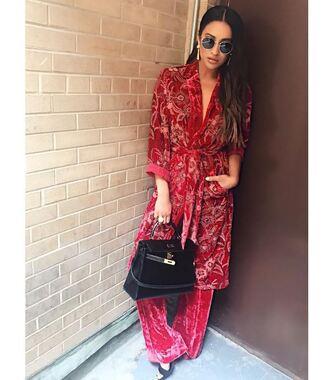 jacket pants red velvet sandals instagram shay mitchell purse coat