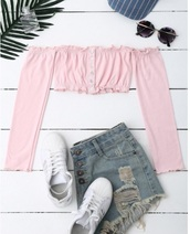 blouse,girly,pink,frilly,crop tops,crop,cropped,long sleeves,off the shoulder,off the shoulder top,button up,trendy,cute