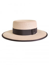 Straw Boater Hat Pink Dark Purple Strap