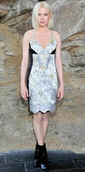 dress,michelle williams,andy,plunge v neck