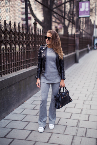 kenza blogger leather jacket biker jacket grey sweater grey pants flare pants