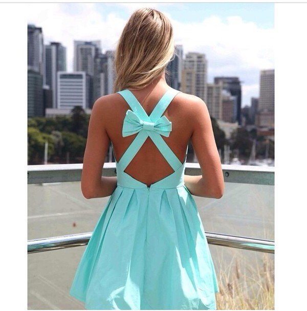 dress sky blue dress skater dress Bow Back Dress
