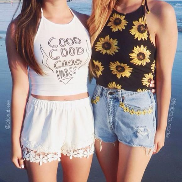 sunflower shirt top tank top neckholder vibes good vibes anything