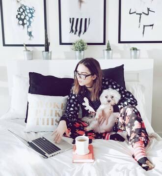 pajamas tumblr christmas christmas pajamas socks cute socks coffee apple glasses pillow quote on it pillow quote on it holiday season