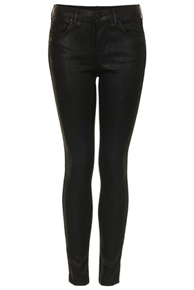 MOTO Black Coated Leigh Jeans - Topshop