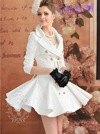 dress skirt white girl gloves hair bow gold legs flowers white dress white skirt earrings gold buttons buttons pearl black gloves belt floral necklace jewels