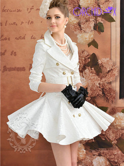 gold buttons skirt white girl dress gloves hair bow gold legs flower white dress white skirt earrings buttons pearl black gloves belt flowers floral necklace