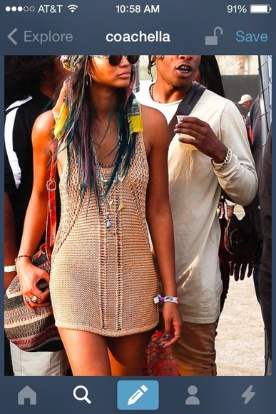crochet dress crochet maxi dress chanel iman ASAP Rocky