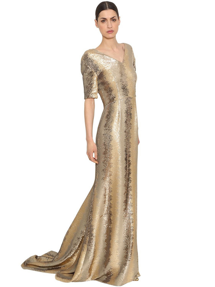 INGIE PARIS Sequined Tulle Long Dress in gold