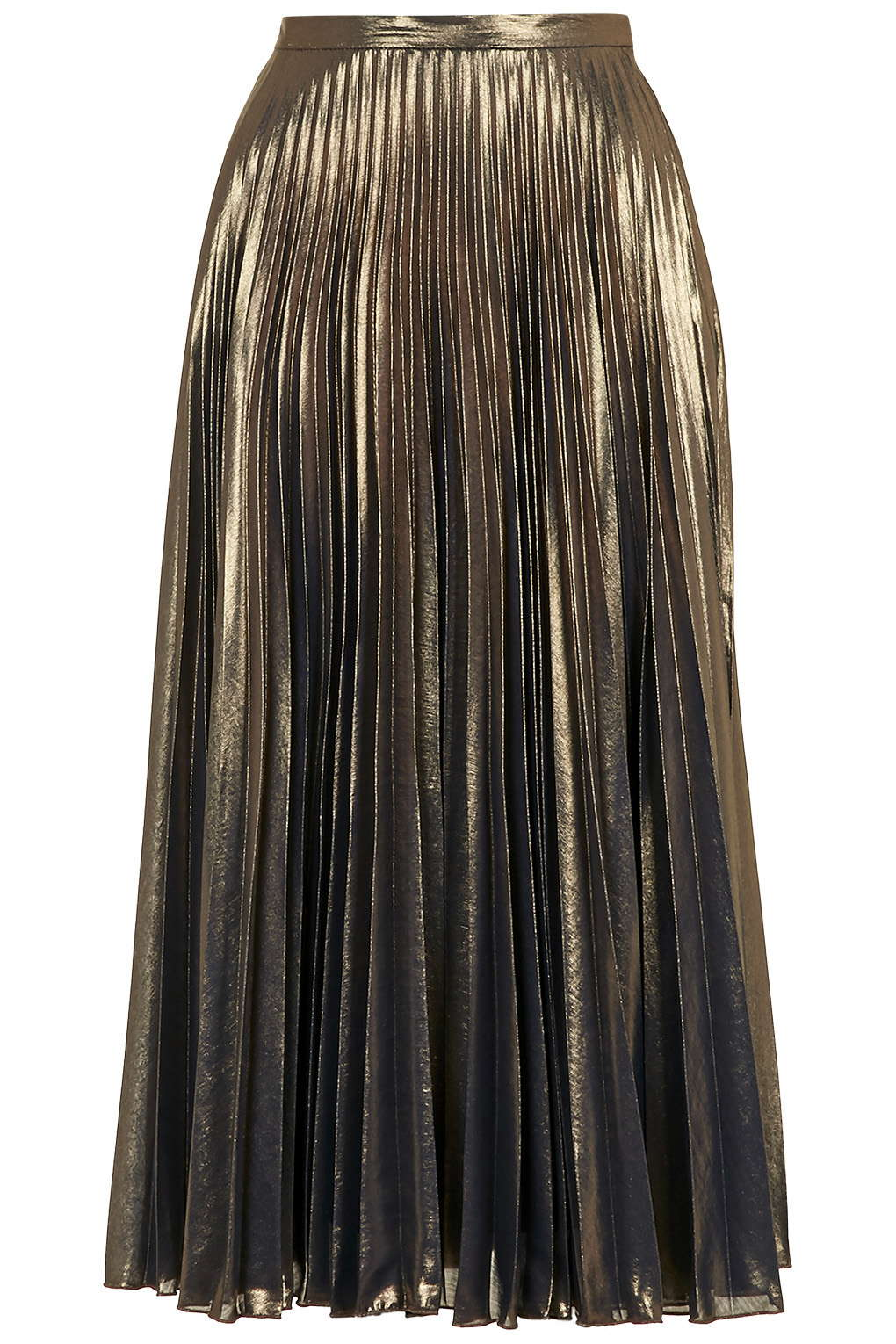 Metallic Pleated Midi Skirt - Topshop