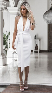 dress,plunge v neck,white dress,midi dress,midi,bodycon,bodycon dress,party dress,sexy party dresses,sexy outfit,party outfits,summer dress,summer outfits,classy dress,elegant dress,pool party,spring dress,spring outfits,fall outfits,fall dress,cocktail dress,date outfit,cute,cute dress,girly,girly dress,birthday dress,summer holidays,clubwear,wedding dress,wedding clothes,wedding guest,engagement party dress,graduation dress,romantic dress,romantic summer dress,dope,white