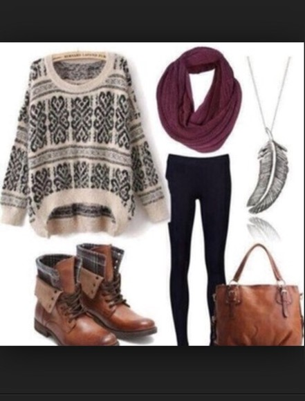 bag brown bag black sweater white wintersweater scarf infinity scarf red scarf maroon