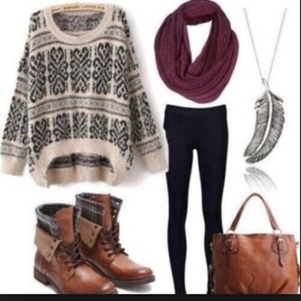 jewels sweater black shoes white wintersweater scarf infinity scarf burgundy bag brown bag scarf red
