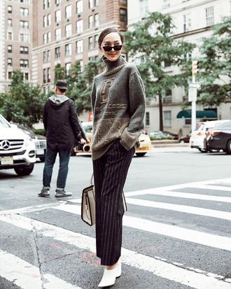 pants bag tumblr black pants stripes striped pants wide-leg pants sweater grey sweater boots white boots ankle boots sunglasses
