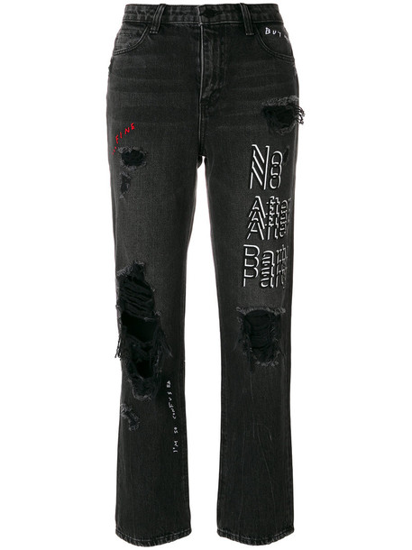 Alexander Wang jeans cropped jeans cropped high women cotton grey