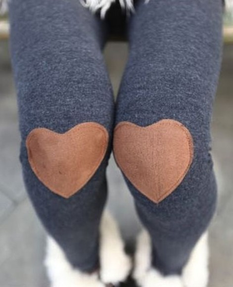 pants leggings heart patches cute leggings