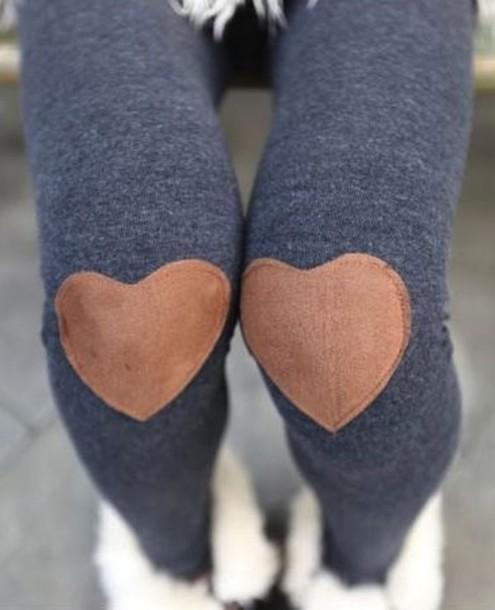 pants leggings heart patches cute leggings
