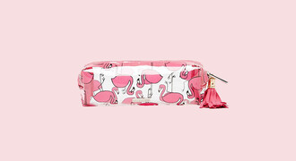 bag pencil case back to school school supplies office supplies pink flamingo pencils
