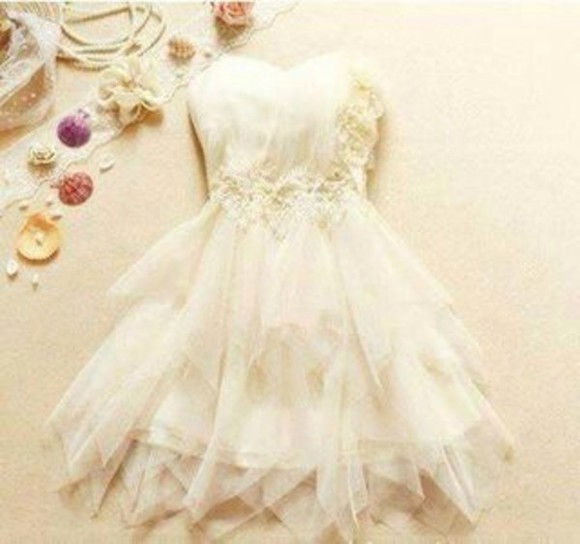 dress white dress cute short prom dress