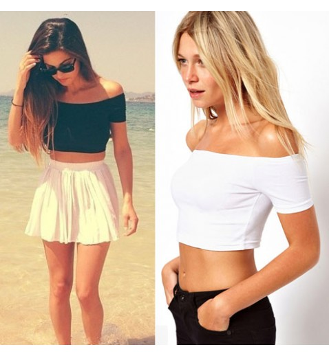 Off Shoulder Crop Tee