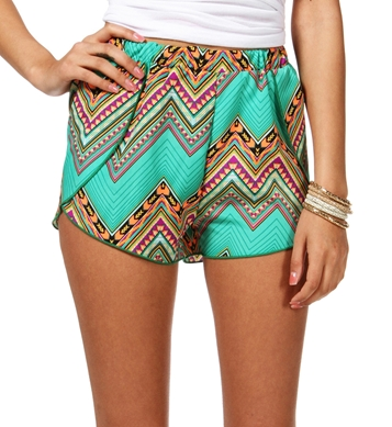 Tribal Printed Chevron Shorts