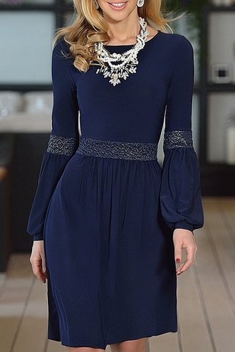 dress cute navy casual style fashion long sleeves jewel neck lace splicing long sleeve dress blue trendy classy elegant