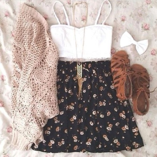 shoes fashion cute gladiators brown dress shirt hipster indie swag jewels sweater tank top skirt cute top ilovethis spring outfits pintrest crop tops cardigan top