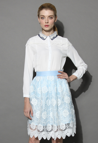 top lace panel shirt chicwish lace shirt white shirt chicwish.com