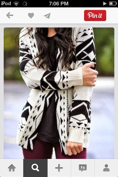 jacket cardigan clothes white and black sweater chevron oversized cardigan sweater cardi aztec geometric fashion style fall outfits outfit