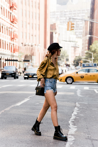 shirt green shirt shorts tumblr denim denim shorts boots black boots biker boots bag black bag hat shoes