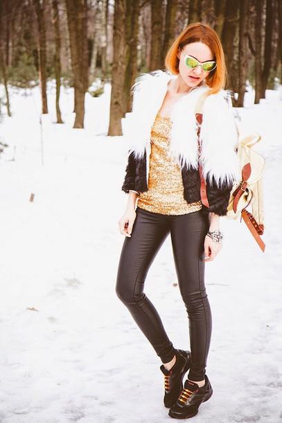 gvozdishe blogger leather leggings fluffy mirrored sunglasses sequins top jeans coat sunglasses jewels