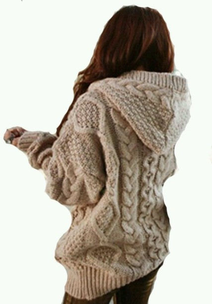 cardigan khaki sweater hoodie geometric chunky sweater