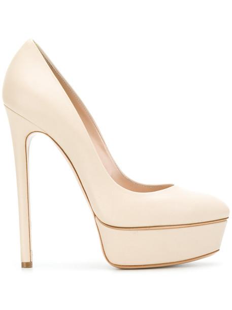 CASADEI women pumps platform pumps leather nude shoes