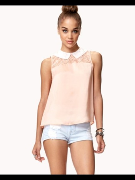 white pink summer outfits t-shirt collar